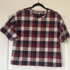 Flannel print top with button up back